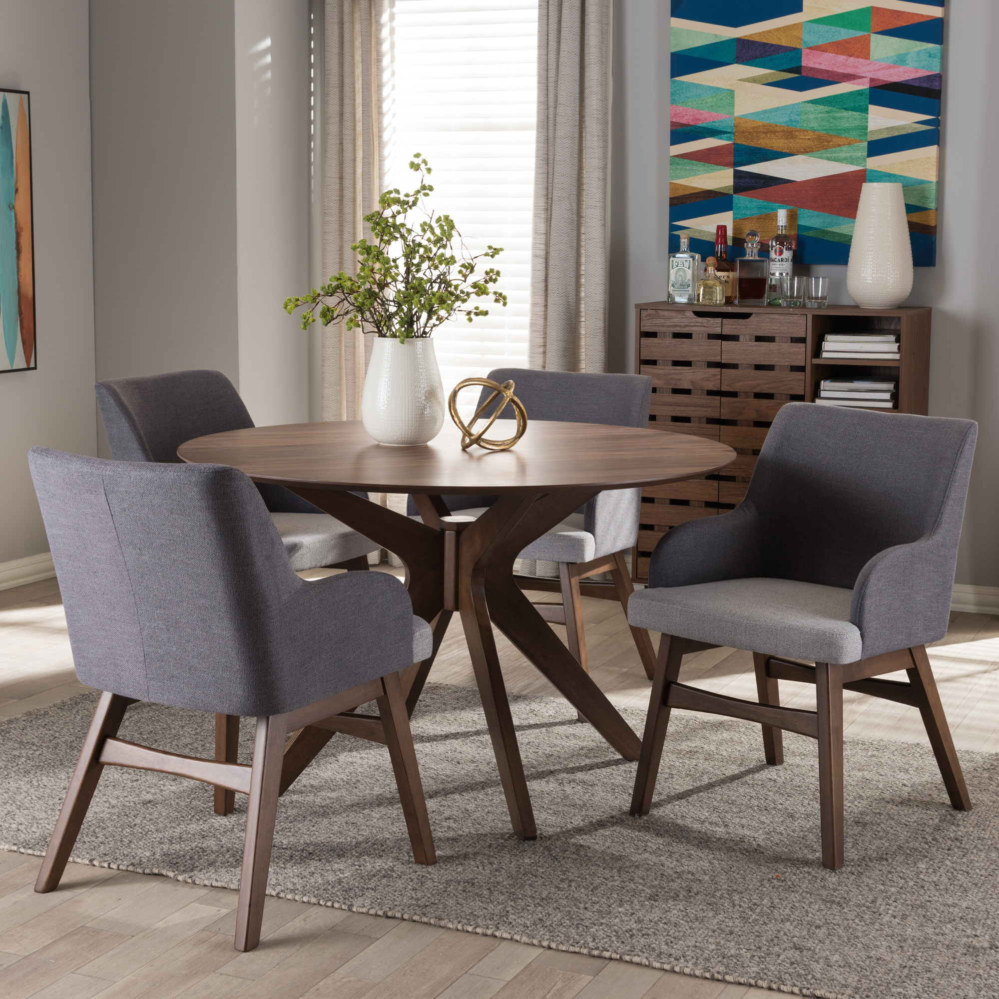 ... Baxton Studio Monte Mid Century Modern Walnut Wood Round 5 Piece Dining  Set ...