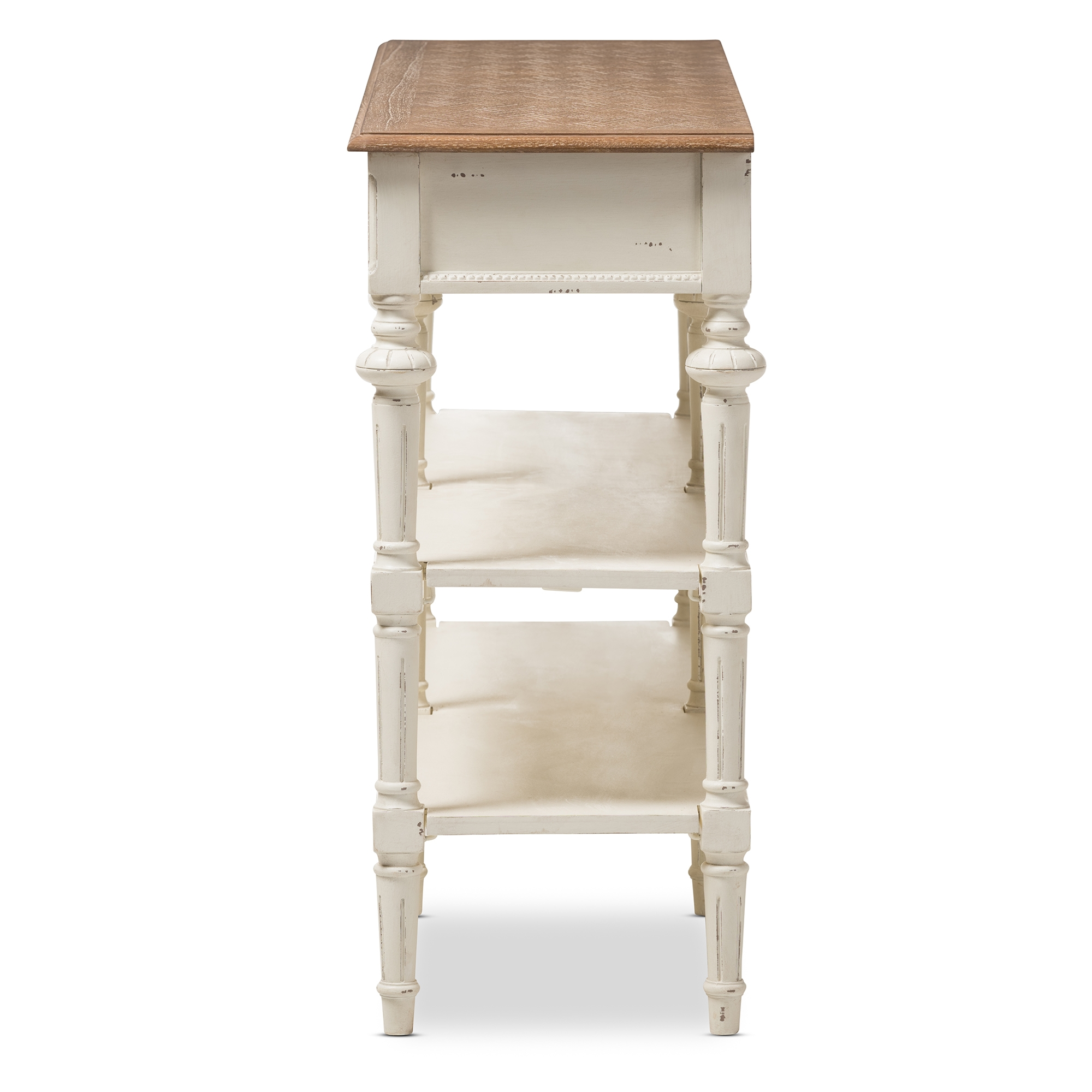 ... Baxton Studio Marquetterie French Provincial Weathered Oak And  Whitewash Console Table   PRL14VM(AR) ...