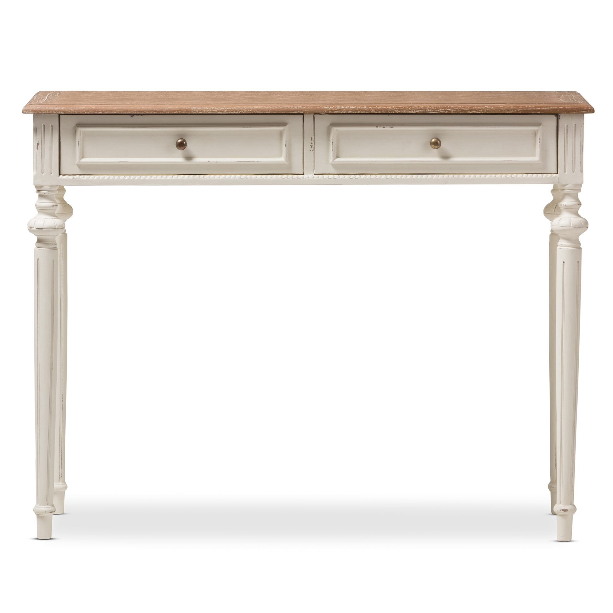 ... Baxton Studio Marquetterie French Provincial Weathered Oak And Whitewash  Console Table   PRL15VM(AR) ...