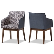 Baxton Studio Reece Mid-Century Modern Dark Blue Patterned Fabric Lounge Chair (Set of 2) Baxton Studio restaurant furniture, hotel furniture, commercial furniture, wholesale living room furniture, wholesale chair, classic armchair