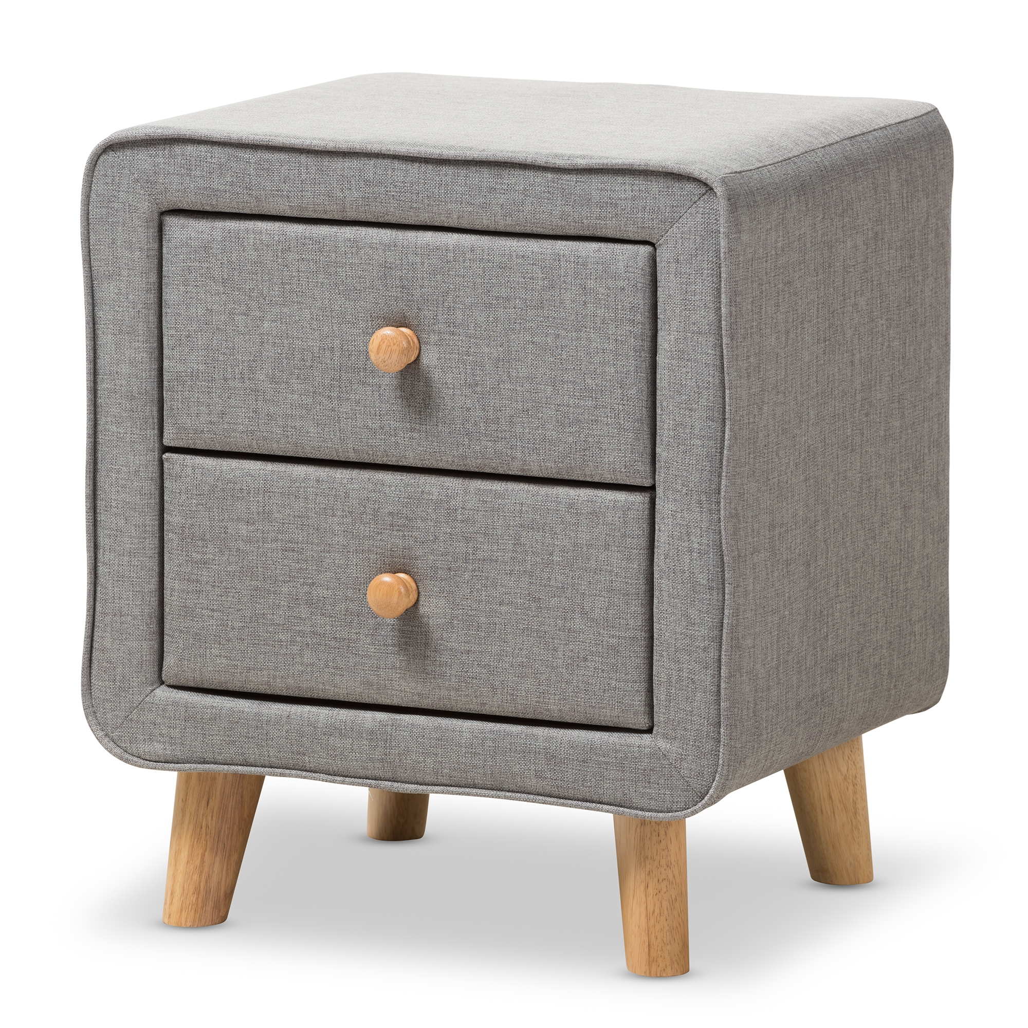 ... Bedroom Furniture U003e Wholesale Night Stands U003e. Baxton Studio Jonesy  Mid Century Grey Fabric Upholstered 2 Drawer Nightstand   BBT3140  ...