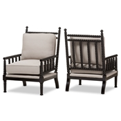Baxton Studio Hillary Modern and Contemporary Beige Fabric Upholstered and Black Finish Wood Spindle-Back Accent Chair (Set of 2) Baxton Studio restaurant furniture, hotel furniture, commercial furniture, wholesale living room furniture, wholesale chair, classic armchair