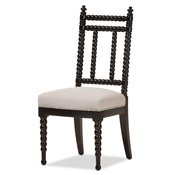 Baxton Studio Heather Modern And Contemporary Beige Fabric Upholstered Black Finish Wood Dining Chair