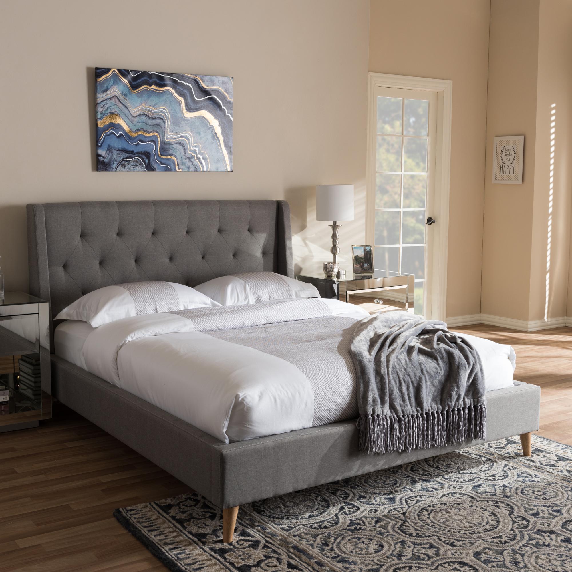 ... Baxton Studio Adelaide Retro Modern Light Grey Fabric Upholstered Queen  Size Platform Bed   CF8862  ...