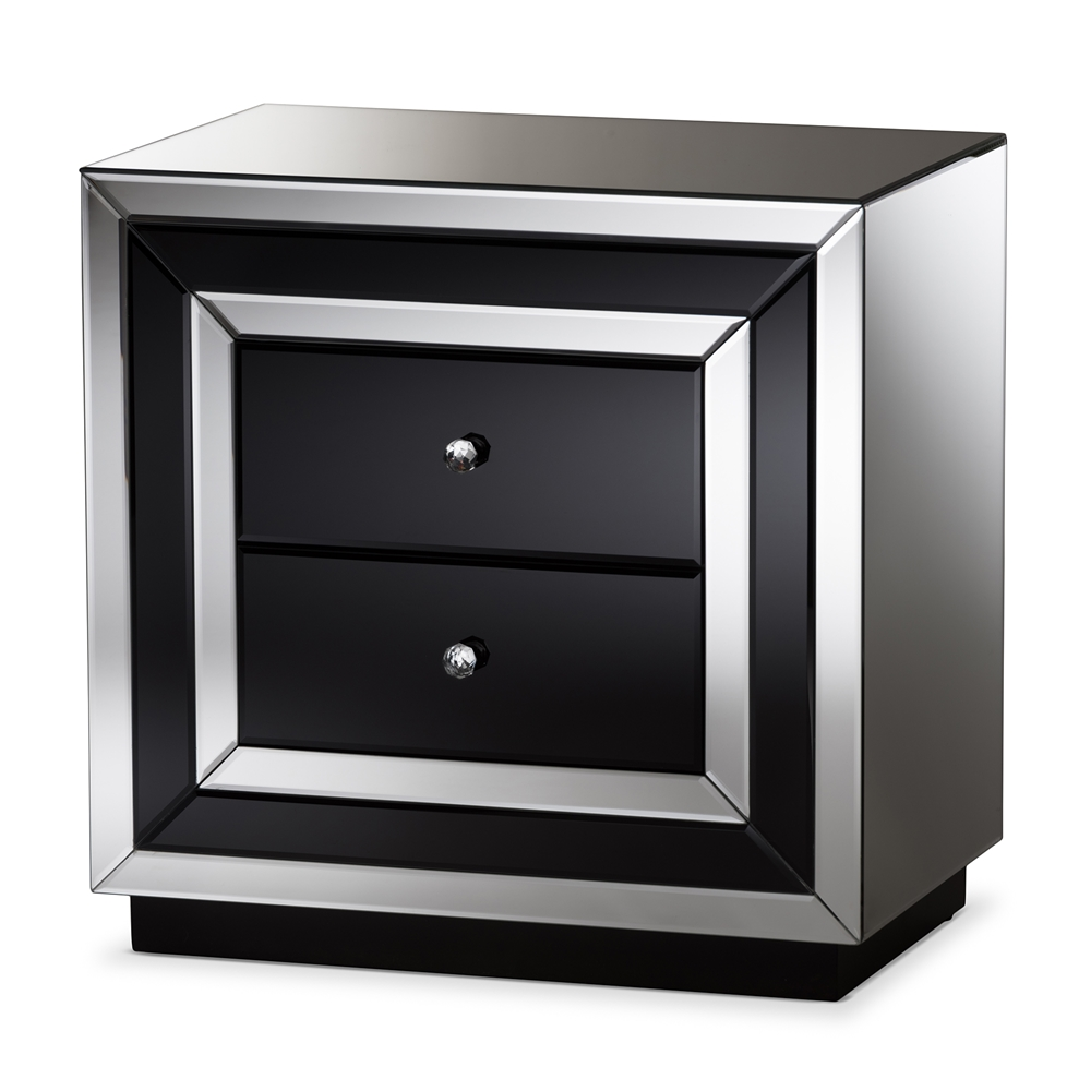 Baxton Studio Cecilia Hollywood Regency Glamour Style Mirrored 2 Drawer Nightstand Rxf 721