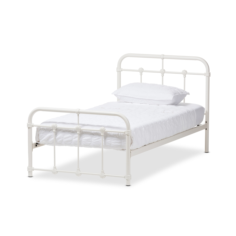 f0400858d89e Baxton Studio Mandy Industrial Style Antique White Twin Size Metal Platform  Bed - TS105-White ...