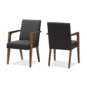 Baxton Studio Andrea Mid-Century Modern Dark Grey Upholstered Wooden Armchair (Set of 2) Baxton Studio restaurant furniture, hotel furniture, commercial furniture, wholesale living room furniture, wholesale chair, classic arm chair