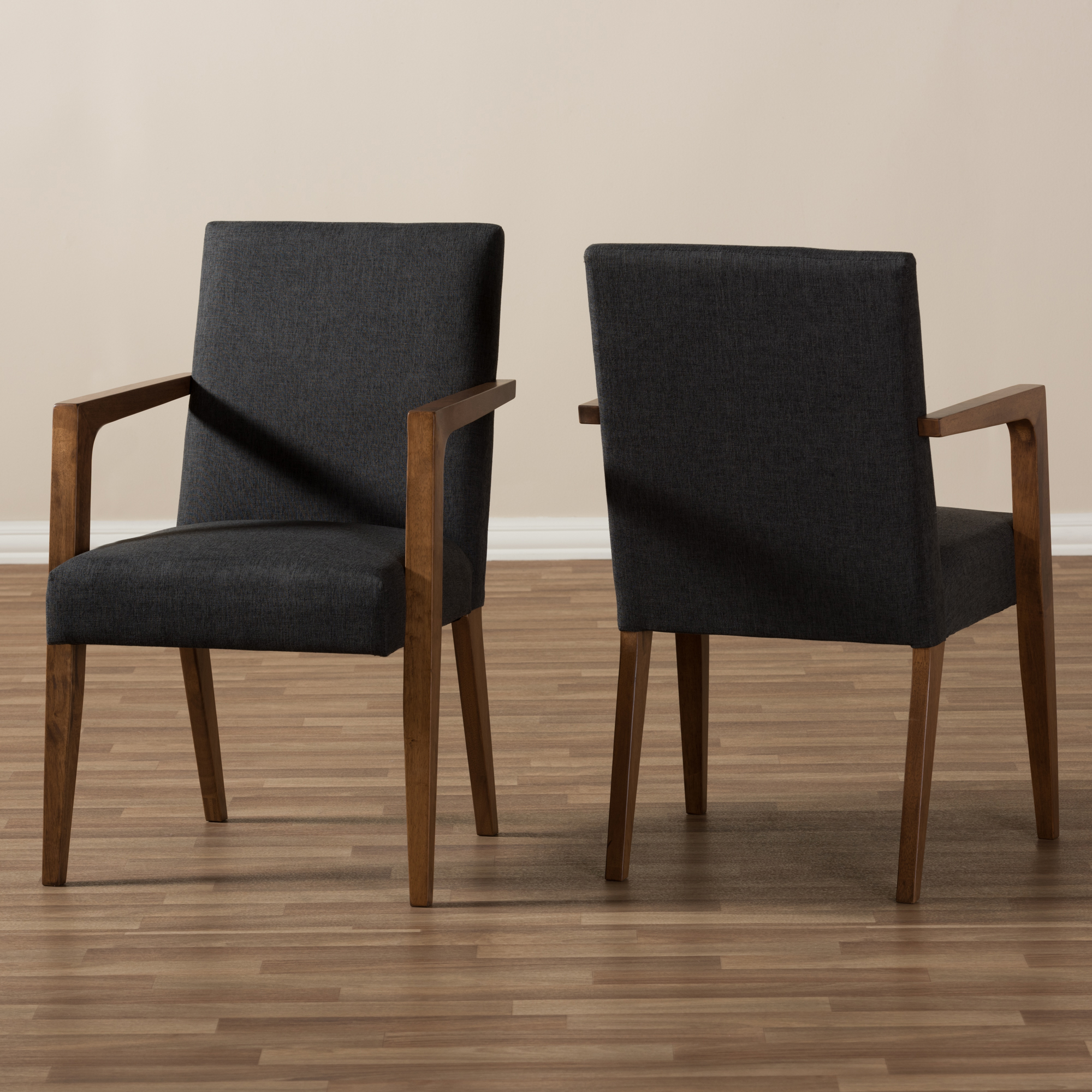 ... Baxton Studio Andrea Mid Century Modern Dark Grey Upholstered Wooden  Armchair (Set Of 2 ...