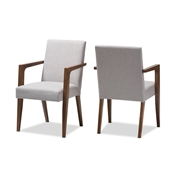 Baxton Studio Andrea Mid-Century Modern Greyish Beige Upholstered Wooden Armchair (Set of 2) Baxton Studio restaurant furniture, hotel furniture, commercial furniture, wholesale living room furniture, wholesale chair, classic arm chair