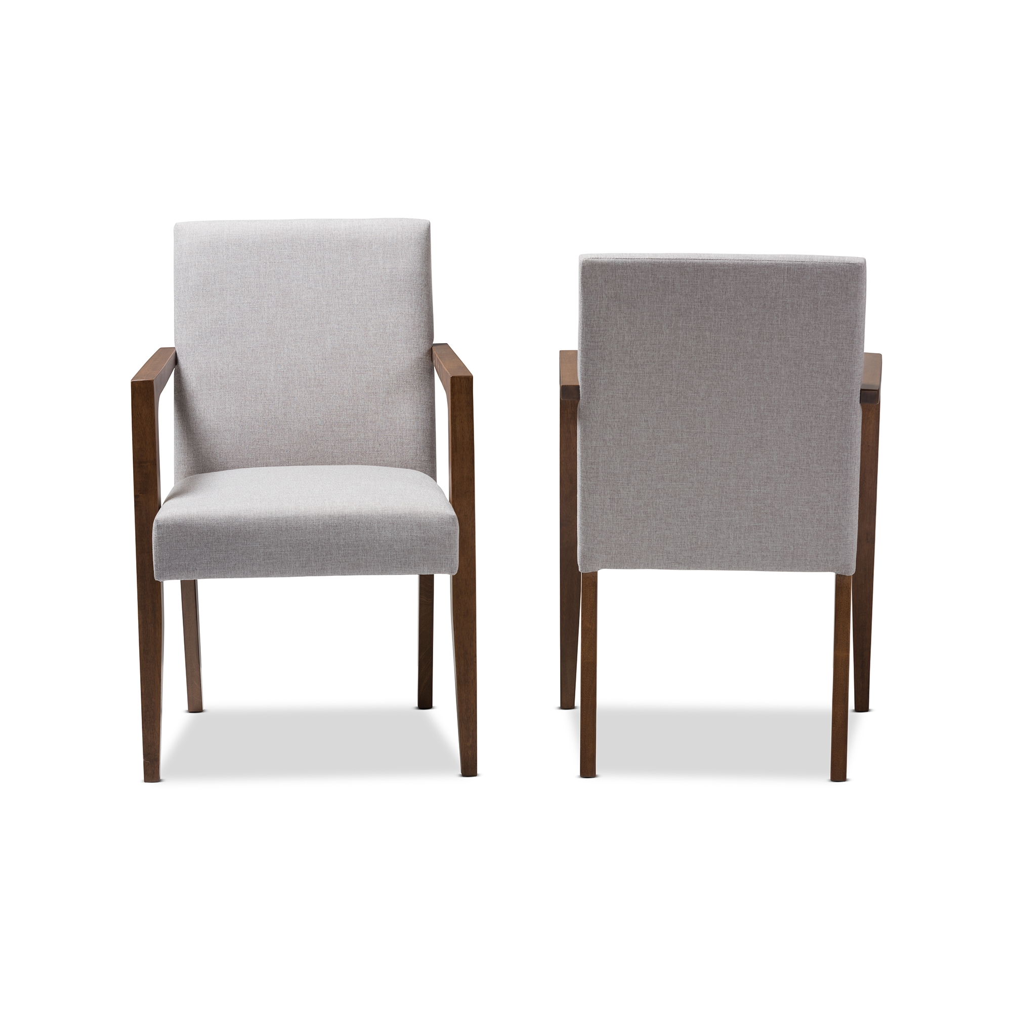 ... Baxton Studio Andrea Mid Century Modern Greyish Beige Upholstered Wooden  Armchair (Set Of 2 ...