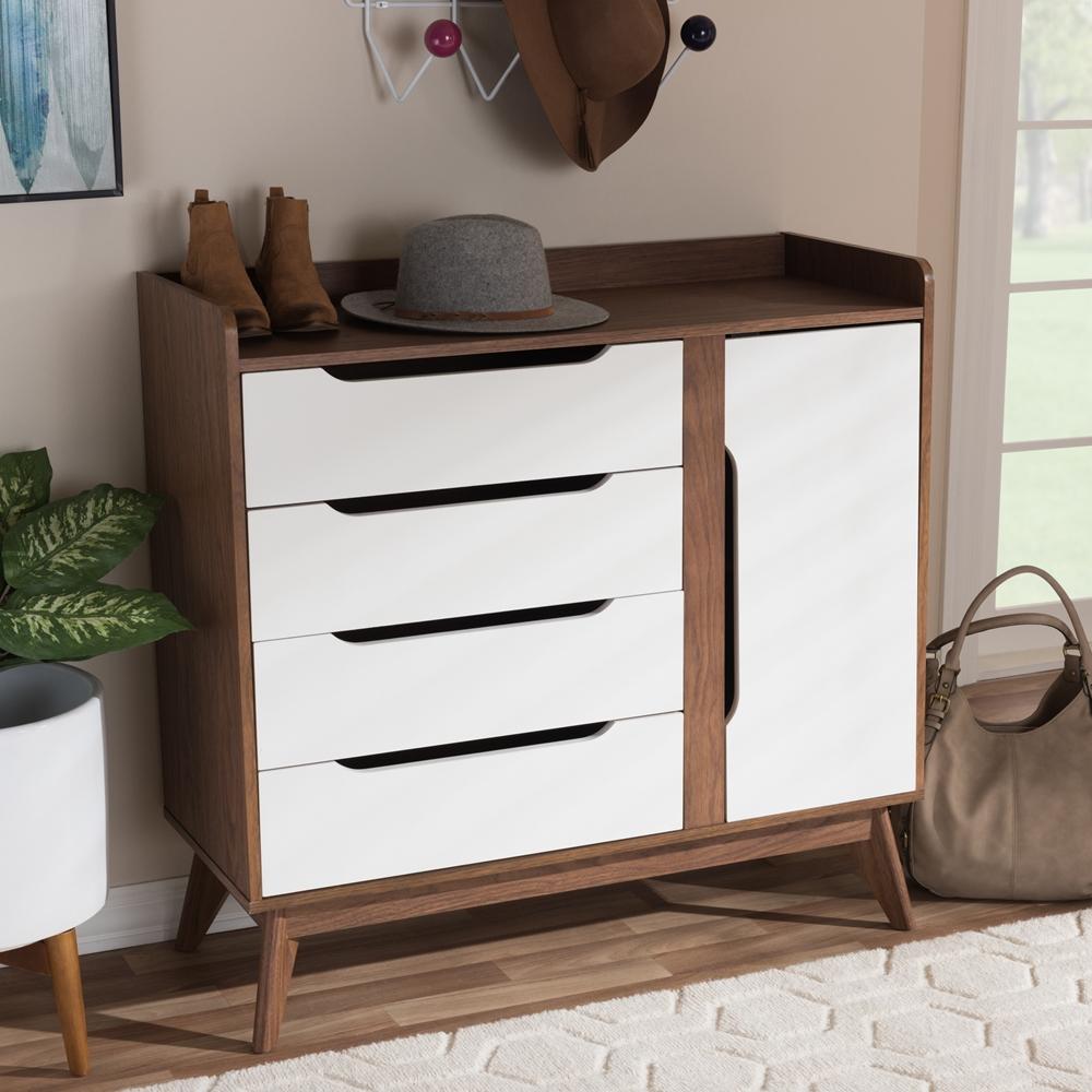 ... Baxton Studio Brighton Mid-Century Modern White and Walnut Wood Storage  Shoe Cabinet - Brighton ...