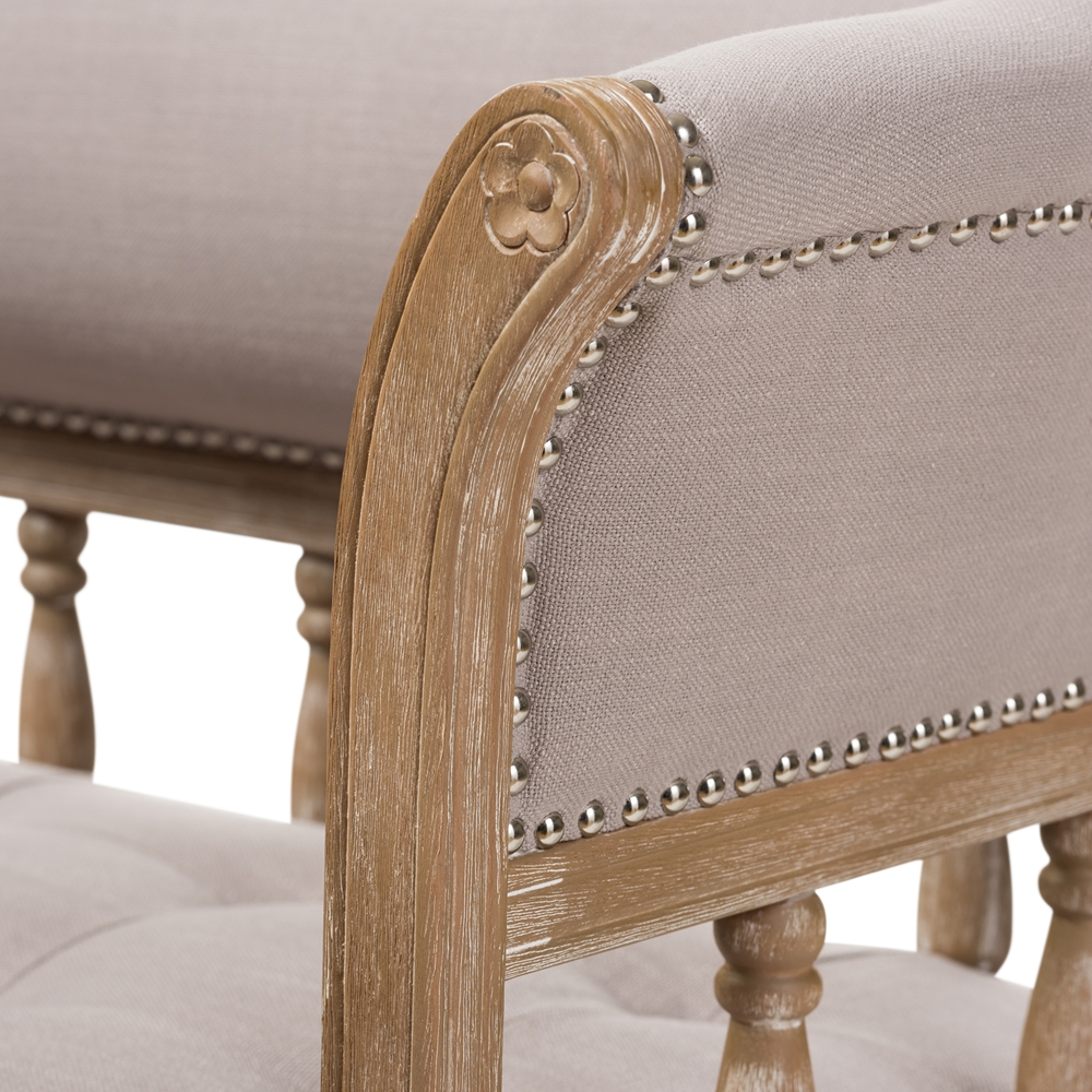 Baxton studio nora swedish gustavian style distressed oak wood linen upholstered sofa settee tsf