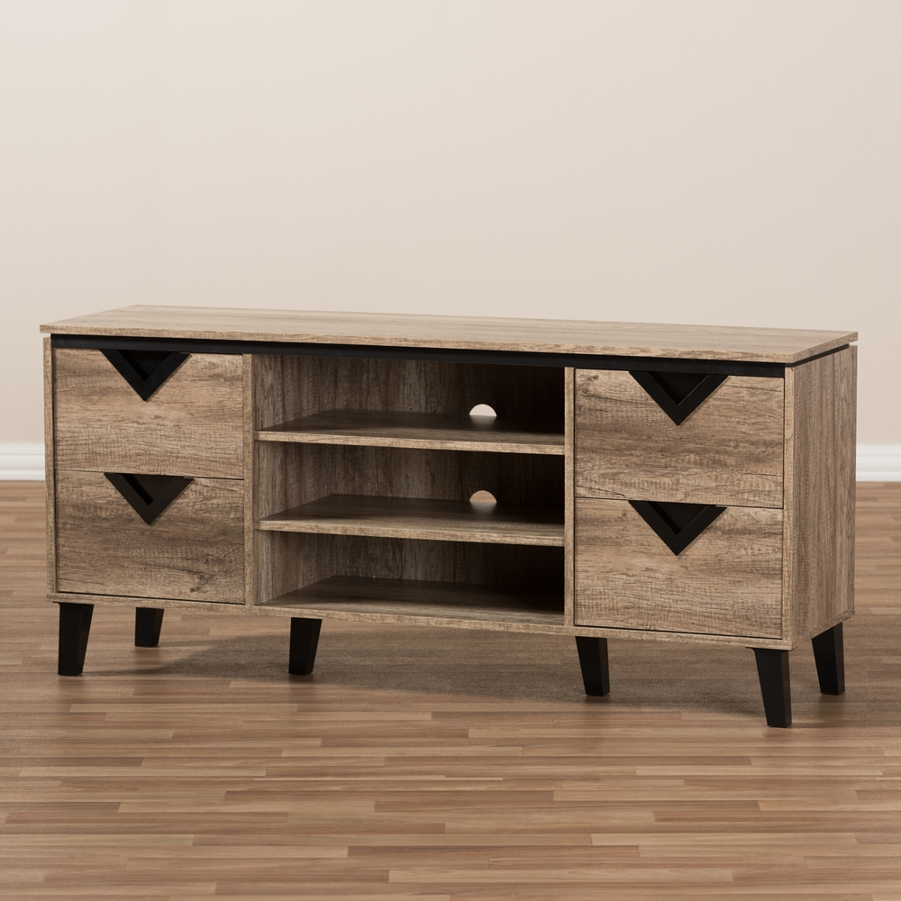 baxton studio beacon modern and contemporary light brown wood 55 inch tv stand w - Light Colored Tv Stands