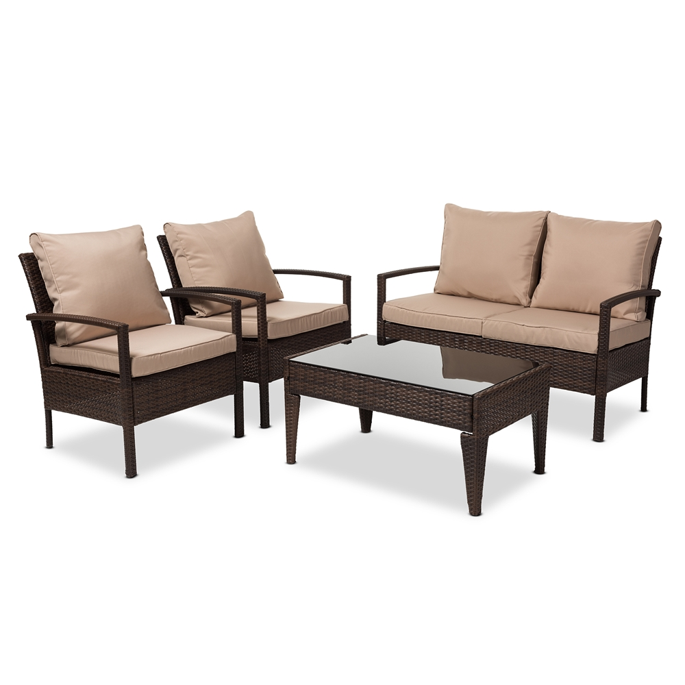 Baxton Studio Empire Modern and Contemporary 4-Piece Brown Wicker Outdoor  Patio Set - PAS ... - Wholesale Patio Set Wholesale Outdoor Furniture Wholesale Furniture