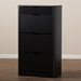 Baxton Studio Cayla Modern and Contemporary Black Wood Shoe Cabinet - SESC214-Black-Shoe Cabinet