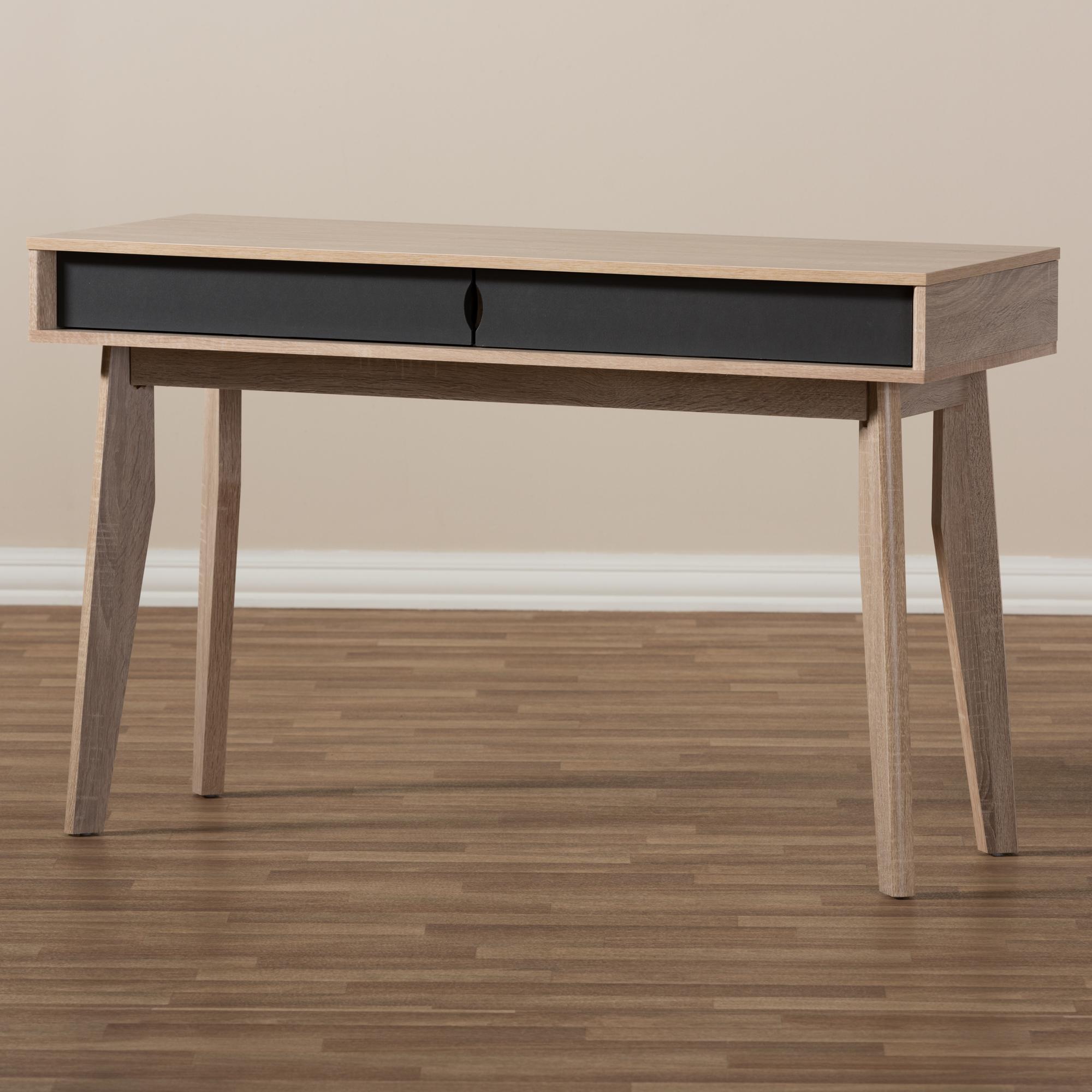 Gentil ... Baxton Studio Fella Mid Century Modern 2 Drawer Oak And Grey Wood Study  Desk ...