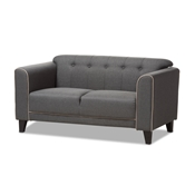 Baxton Studio Lottie Modern and Contemporary Grey Fabric Button-Tufted 2-Seater Loveseat Baxton Studio restaurant furniture, hotel furniture, commercial furniture, wholesale living room furniture, wholesale sofa, classic sofa loveseat