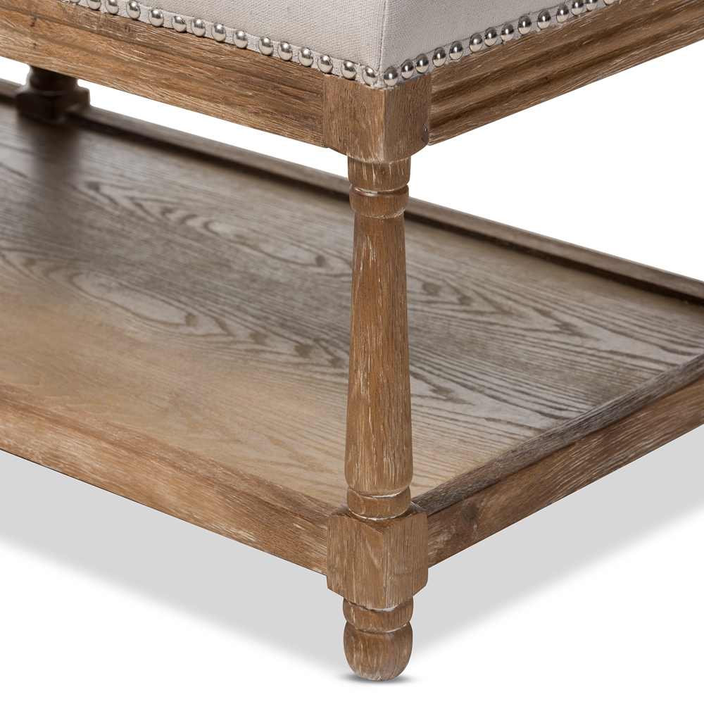 d02a888402efb ... Baxton Studio Celeste French Country Weathered Oak Beige Linen  Upholstered Ottoman Bench - TSF-9336 ...