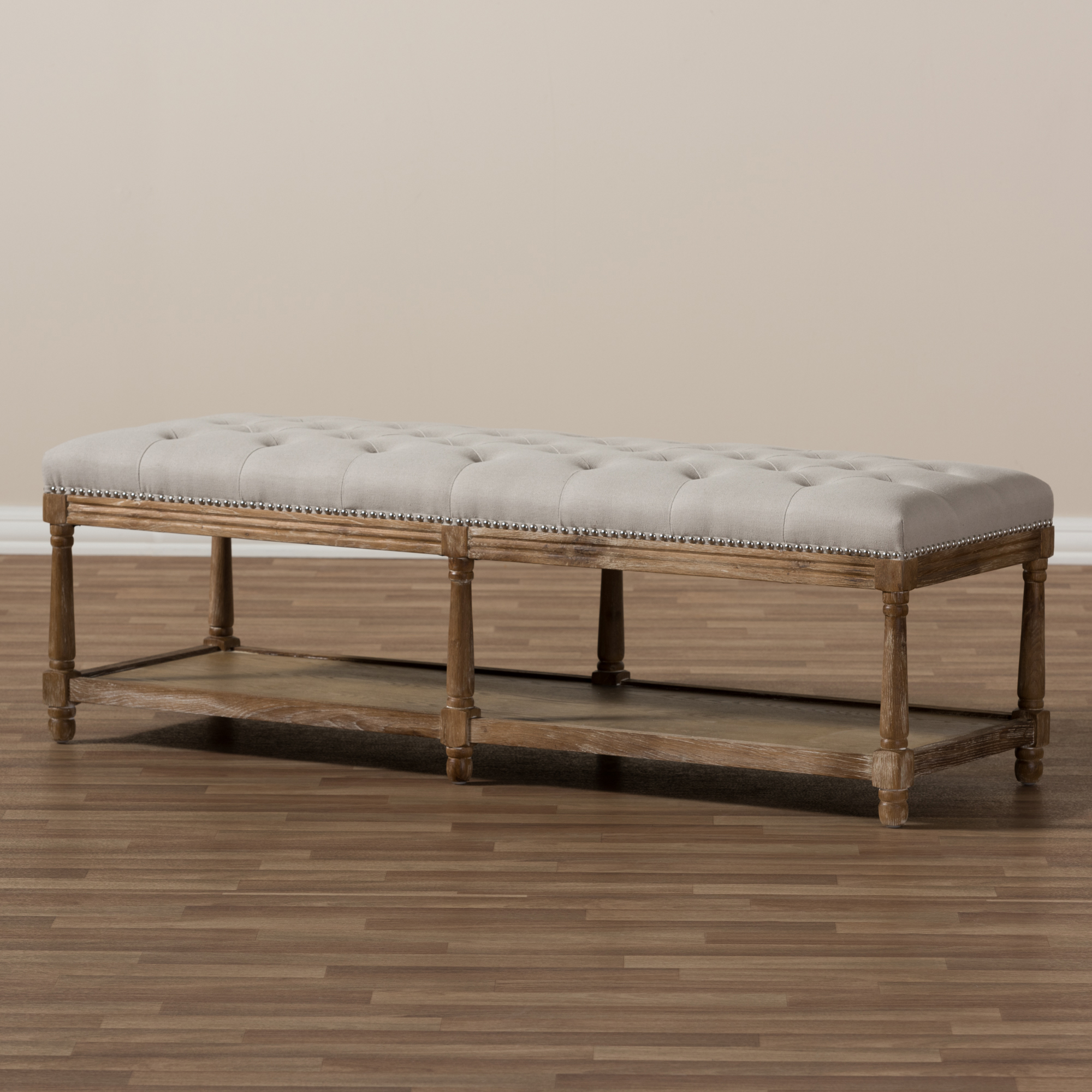 Ordinaire ... Baxton Studio Celeste French Country Weathered Oak Beige Linen  Upholstered Ottoman Bench   TSF 9336 ...