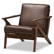 Baxton Studio Bianca Mid-Century Modern Walnut Wood Dark Brown Distressed Faux Leather Lounge Chair Baxton Studio restaurant furniture, hotel furniture, commercial furniture, wholesale dining room furniture, wholesale chairs classic dining chair