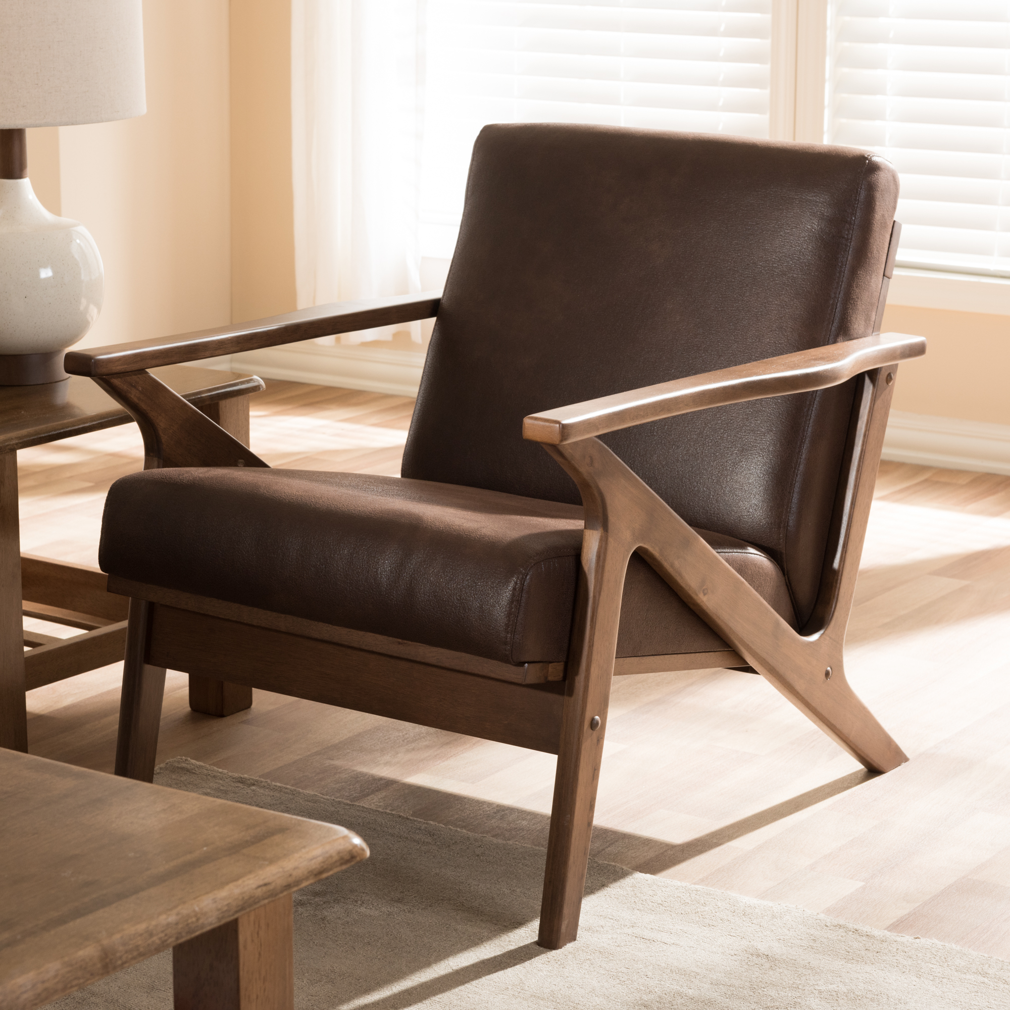 ... Baxton Studio Bianca Mid Century Modern Walnut Wood Dark Brown  Distressed Faux Leather Lounge Chair ...