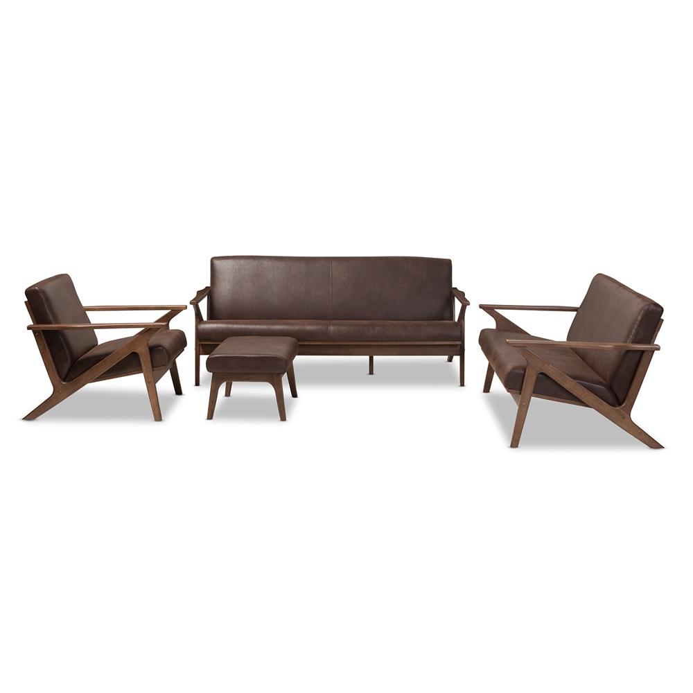 Baxton Studio Bianca Mid Century Modern Walnut Wood Dark Brown Distressed Faux Leather Livingroom Sofa