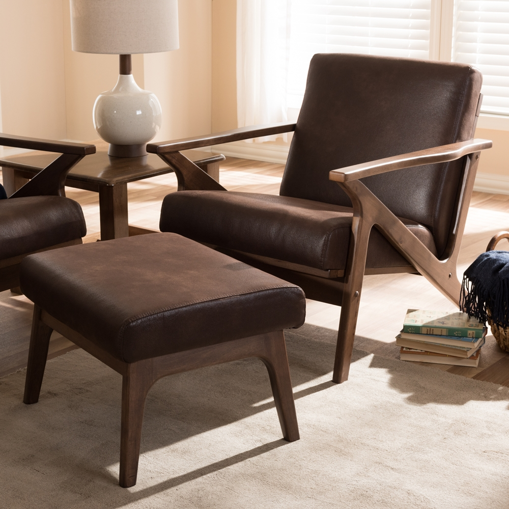 Dining Chairs Set Brown Faux Leather Modern Style Walnut: Wholesale Dining Room Furniture
