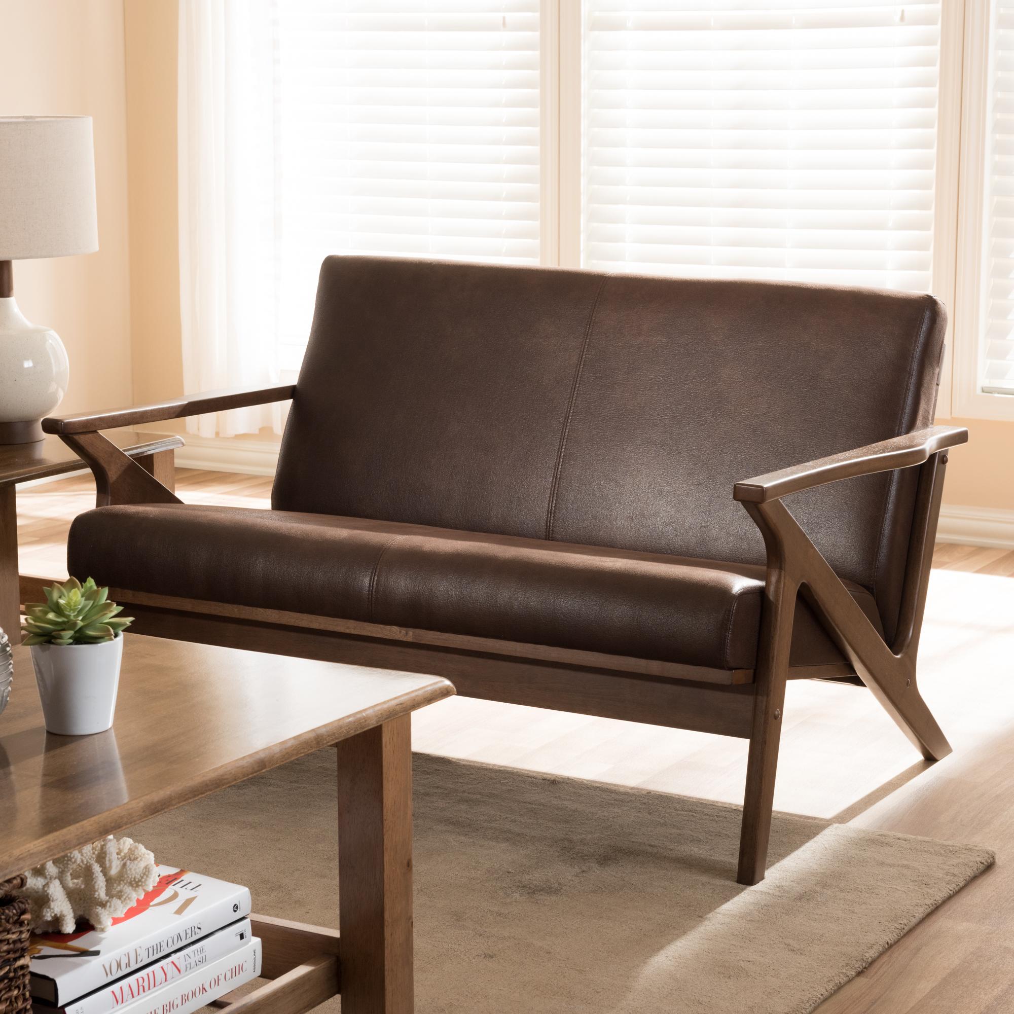 ... Baxton Studio Bianca Mid Century Modern Walnut Wood Dark Brown  Distressed Faux Leather 2  ...
