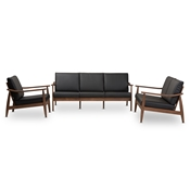 Baxton Studio Venza Mid-Century Modern Walnut Wood Black Faux Leather 3-Piece Livingroom Set Baxton Studio restaurant furniture, hotel furniture, commercial furniture, wholesale dining room furniture, wholesale chairs classic dining chair