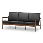 Baxton Studio Venza Mid-Century Modern Walnut Wood Black Faux Leather 3-Seater Sofa Baxton Studio restaurant furniture, hotel furniture, commercial furniture, wholesale dining room furniture, wholesale chairs classic dining chair