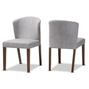 Baxton Studio Cassie Mid Century Modern Walnut Wood Light Grey Fabric Dining Chair