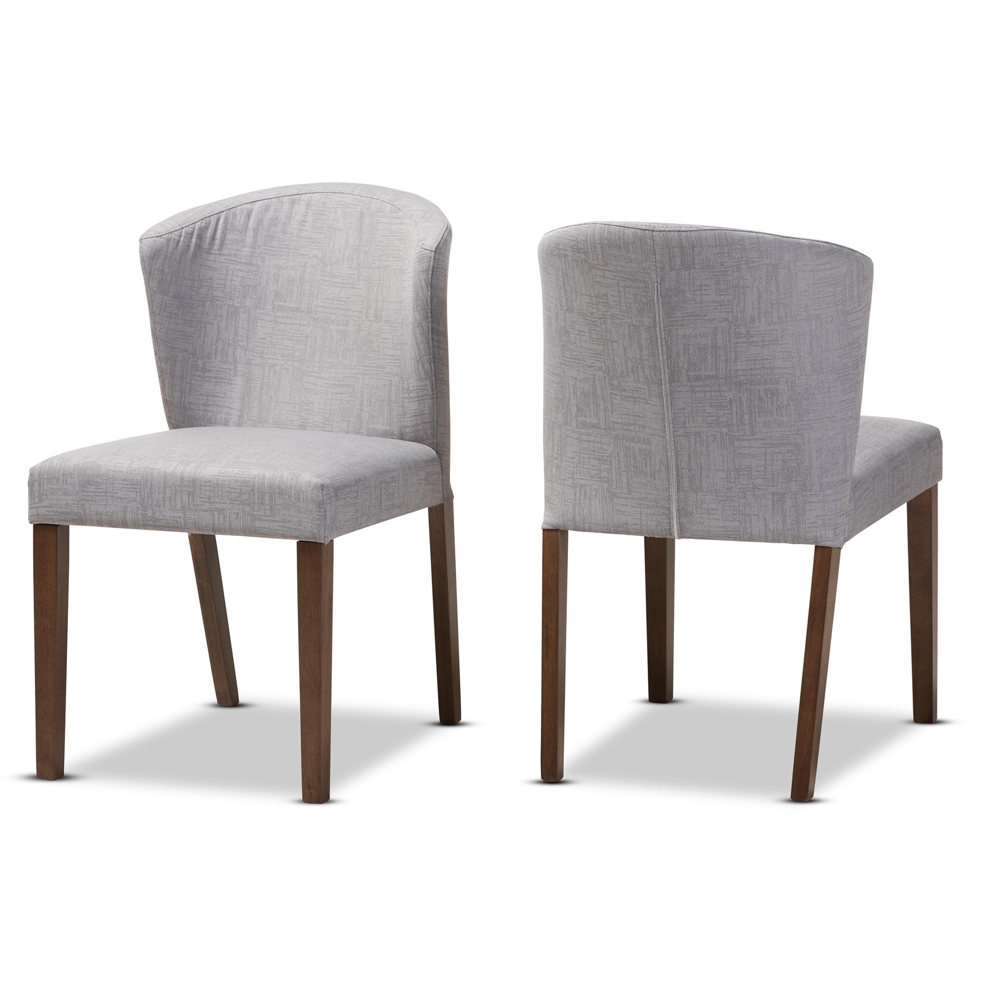 Baxton Studio Cassie Mid Century Modern Walnut Wood Light Grey Fabric Dining  Chair Baxton Studio