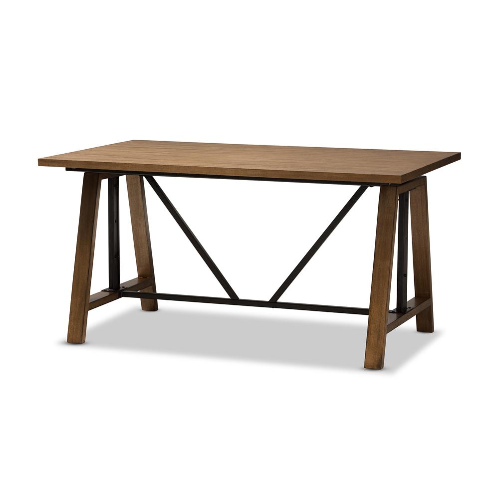 Baxton Studio Nico Rustic Metal And Distressed Wood Adjule Height Work Table Ylx