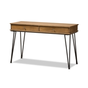 Baxton Studio Toma Rustic Industrial Metal and Distressed Wood 2-Drawer Storage Desk Baxton Studio restaurant furniture, hotel furniture, commercial furniture, wholesale home office furniture, wholesale desk, classic desk