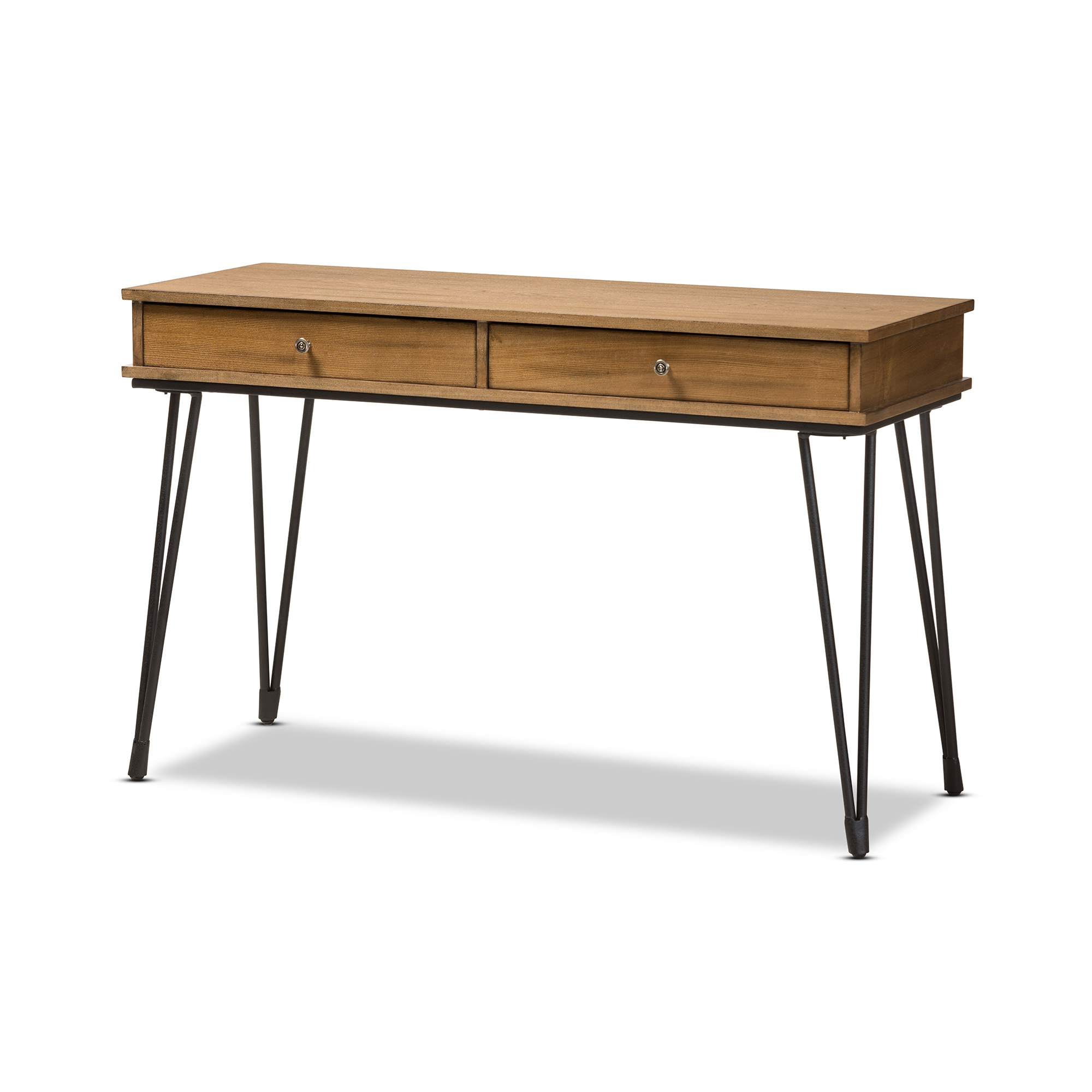Baxton Studio Toma Rustic Industrial Metal And Distressed Wood 2 Drawer  Storage Desk   YLX ...