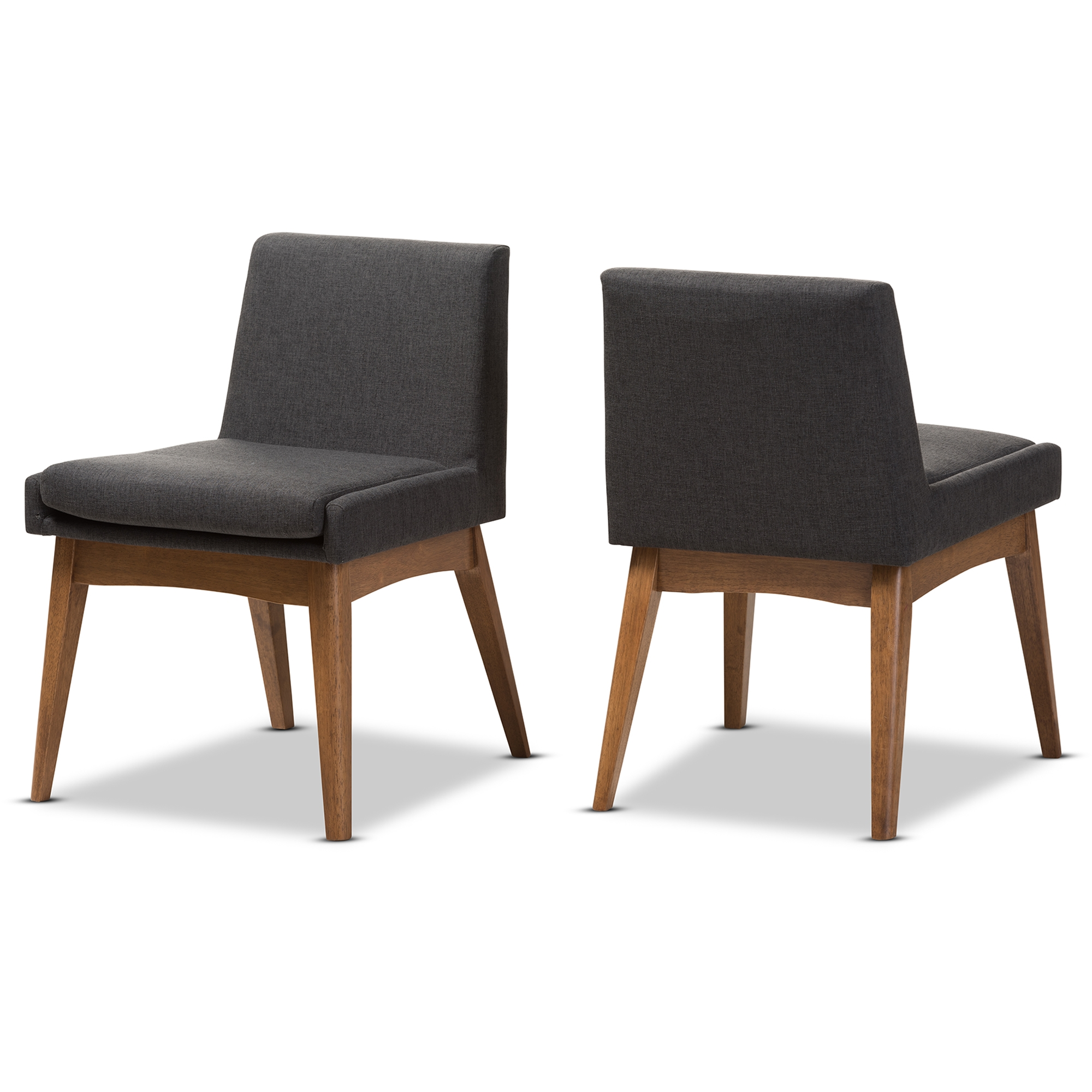 Baxton Studio Nexus Mid Century Modern Walnut Wood Finishing Dark Fabric  Dining Side Chair ...