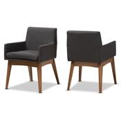 Baxton Studio Nexus Mid Century Modern Walnut Wood Finishing Dark Grey Fabric Dining Armchair