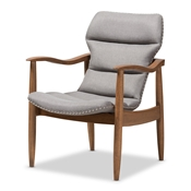 Baxton Studio Hadley Mid-Century Modern Grey Fabric and Walnut Brown Finished Wood Lounge Chair Baxton Studio restaurant furniture, hotel furniture, commercial furniture, wholesale living room furniture, wholesale chair, classic lounge chairs