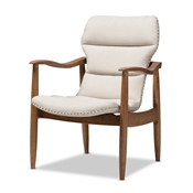 Baxton Studio Hadley Mid-Century Modern Light Beige Fabric and Walnut Brown Finished Wood Lounge Chair Baxton Studio restaurant furniture, hotel furniture, commercial furniture, wholesale living room furniture, wholesale chair, classic lounge chairs