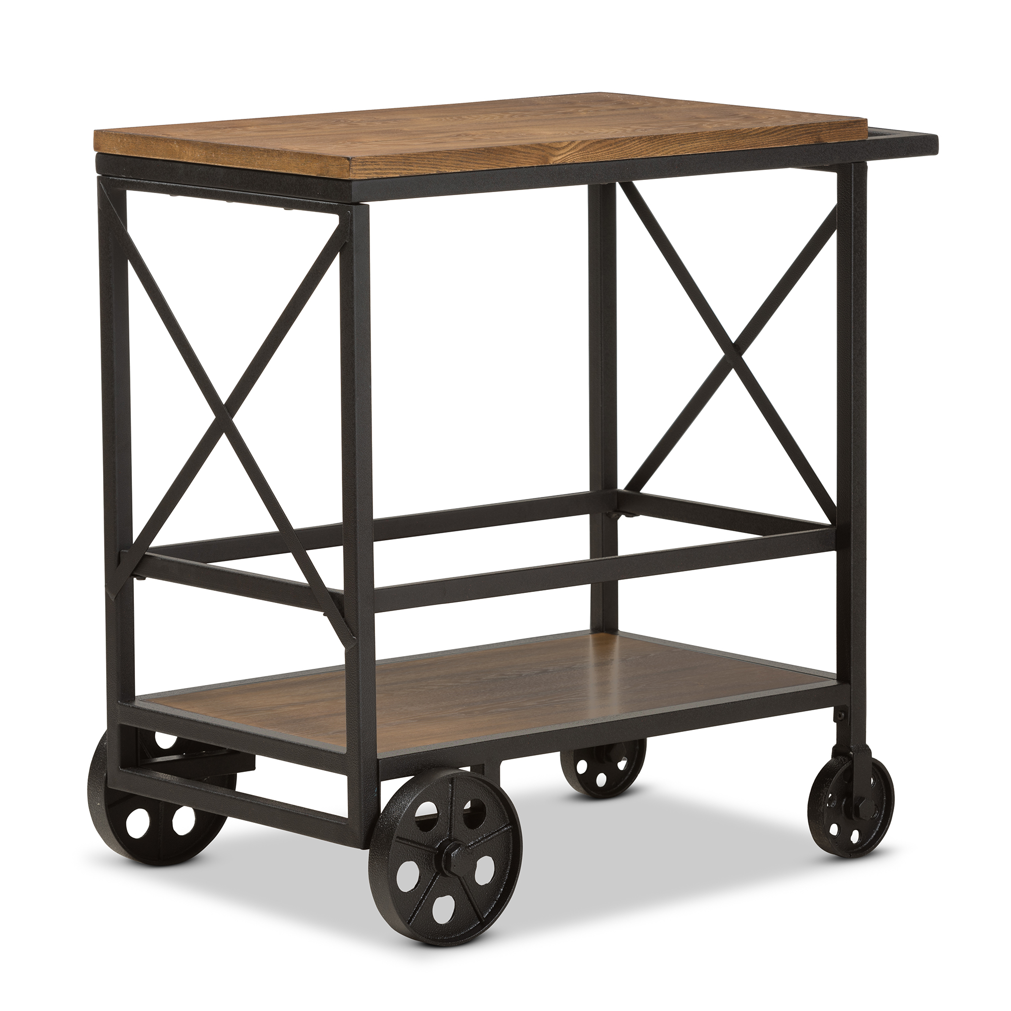 Baxton Studio Chester Rustic Industrial Style Oak Brown Finished Wood And  Black Finished Metal Console Table ...