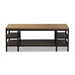 Baxton Studio Caribou Rustic Industrial Style Oak Brown Finished Wood and Black Finished Metal Coffee Table - YLX-0005-CT