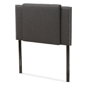 Baxton Studio Ibbie Modern and Contemporary Dark Grey Fabric Twin and Full Size Expandable Headboard Baxton Studio restaurant furniture, hotel furniture, commercial furniture, wholesale bedroom furniture, wholesale headboards, classic twin full headboards