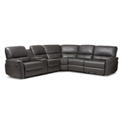 Baxton Studio Amaris Modern and Contemporary Grey Bonded Leather 5-Piece Power Reclining Sectional Sofa with USB Ports Baxton Studio restaurant furniture, hotel furniture, commercial furniture, wholesale living room furniture, wholesale sectional sofa