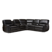 Baxton Studio Amaris Modern and Contemporary Black Bonded Leather 5-Piece Power Reclining Sectional Sofa with USB Ports Baxton Studio restaurant furniture, hotel furniture, commercial furniture, wholesale living room furniture, wholesale sectional sofa