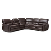 Baxton Studio Amaris Modern and Contemporary Dark Brown Bonded Leather 5-Piece Power Reclining Sectional Sofa with USB Ports Baxton Studio restaurant furniture, hotel furniture, commercial furniture, wholesale living room furniture, wholesale sectional sofa