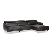 Baxton Studio Paige Modern and Contemporary Black Leather Right Facing Chaise 2-Piece Sectional Sofa Baxton Studio restaurant furniture, hotel furniture, commercial furniture, wholesale living room furniture, wholesale sectional sofa