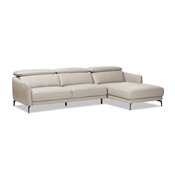 Baxton Studio Paige Modern and Contemporary Light Grey Leather Right Facing Chaise 2-Piece Sectional Sofa Baxton Studio restaurant furniture, hotel furniture, commercial furniture, wholesale living room furniture, wholesale sectional sofa