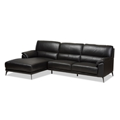 Baxton Studio Radford Modern and Contemporary Black Leather Left Facing Chaise 2-Piece Sectional Sofa Baxton Studio restaurant furniture, hotel furniture, commercial furniture, wholesale living room furniture, wholesale sectional sofa