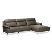Baxton Studio Rabbie Modern and Contemporary Dark Grey Leather Right Facing Chaise 2-Piece Sectional Sofa Baxton Studio restaurant furniture, hotel furniture, commercial furniture, wholesale living room furniture, wholesale sectional sofa