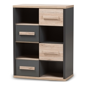 Baxton Studio Pandora Modern and Contemporary Dark Grey and Light Brown Two-Tone 4-Drawer Storage Cabinet Baxton Studio restaurant furniture, hotel furniture, commercial furniture, wholesale living room furniture, wholesale cabinet, classic tv storage cabinets